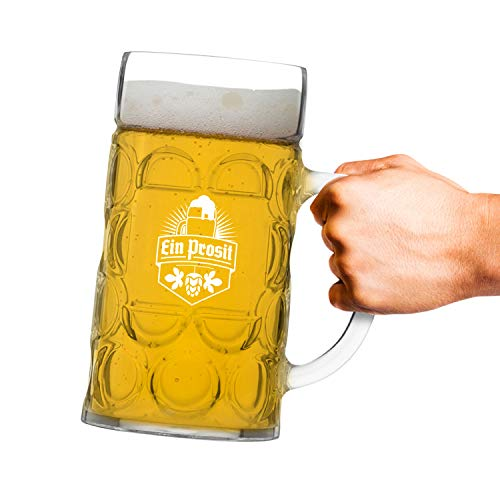 Unbreakable 1L Oktoberfest German Beer Mug with Handle (44 oz.) Classic Stein with Dimpled Finish- Vintage Party Brew Tankard- Thick, Durable Styrene- Made in USA by DU VINO (Image #3)