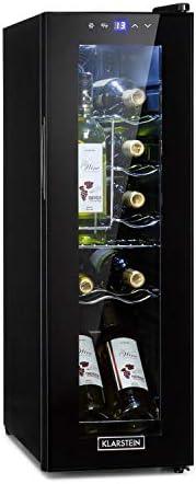 KLARSTEIN Shiraz - Vinoteca, Temperaturas Ajustables de 5 a 18 °C, Panel de Control táctil, Iluminación Interior LED, Estantes metálicos extraíbles, Volumen de 32 L, hasta 12 Botellas, Negro[Clase de eficiencia energética G]