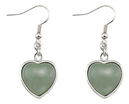 Heart Shape Created Green Jade Dangle Earrings Jewelry for Women Girls