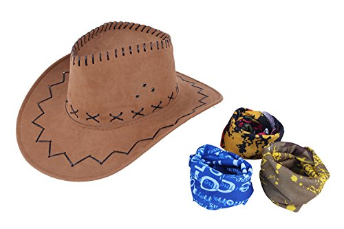 Cowboy Hats for Men and Women, Adult Western Hat Suede Cap with Magic Bandanna (Suede Cowboy Hat)