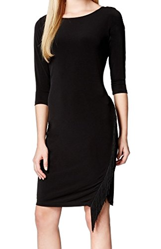 Womens 12 Jersey Dress Black Fringe Party Calvin Matte Klein 1HUzqvq5