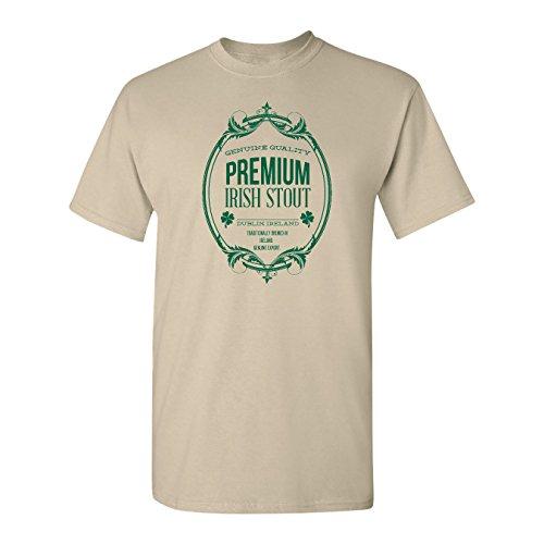 Mashed Clothing Premium Irish Stout Dublin, Ireland Import Beer Adult T-Shirt (Khaki, Large)