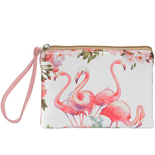(Women and Girls Cute Canvas Coin Purse Zipper Pouch Wallet for Cash, Bank Card, Passport, Coin (Two Red Flamingos))