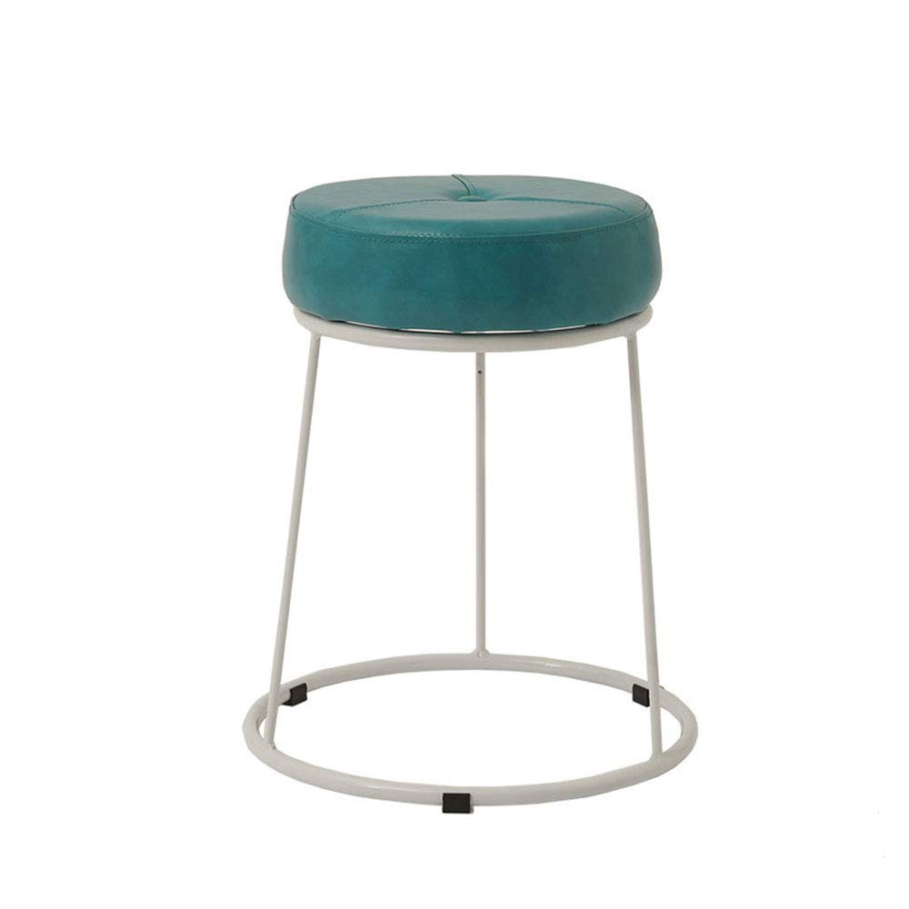 GreenWhite Large Wrought Iron Frame Stool PU Cushion colorful Choice High Resilience Sponge Restaurant Living Room Bedroom Dressing Table Stool (color   GreenWhite, Size   L)