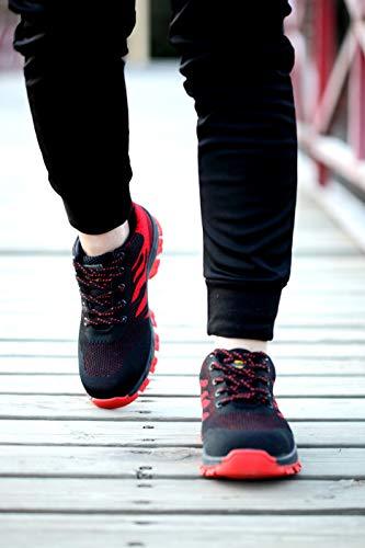 Stival Acciaio Sicurezza Calzature Aizeroth Rosso Sneaker escursionismo Punta in da con Industria Scarpe Traspiranti Lavoro cantiere UK Scarpe da antinfortunistiche di Uomo per Comodissime S3 Donna Edilizia BxZpA6B