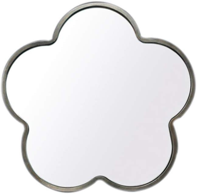 Espejo Creativo de Montaje en Pared con Forma de Ciruela Espejo de tocador para baño - Espejo de Maquillaje con Borde de Madera - Espejo de Pared Decorativo (Color: Dorado tamaño: 36x36cm)