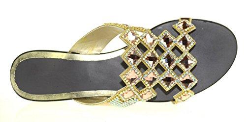 CFP - Zapatos con correa de tobillo mujer dorado