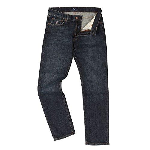 Gant Slim Jeans, Vaqueros Straight para Hombre Dark Blue Worn In