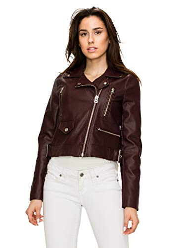 Lock and Love WJC1852 Womens Faux Leather Motorcycle Biker Jacket L Maroon (Womens Maroon Leather Jacket)