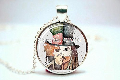 Pretty Lee 2015 Fashion Johnny Depp Art Print Necklace Glass Photo Cabochon Necklace Christmas - Depp Amazon Glasses Johnny