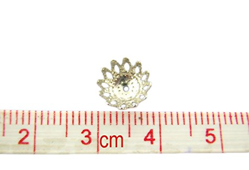 Housweety Bijoux Accessoires 300 Perles Coupelles Filigrane Fleur 9mm Dia.
