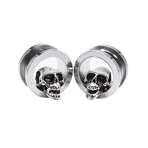 - JIAPEIJIA 8-24mm 2Pcs 3D Skull Ear Tunnels and Plugs Ear Stretching Expander Piercing(0g(8mm))