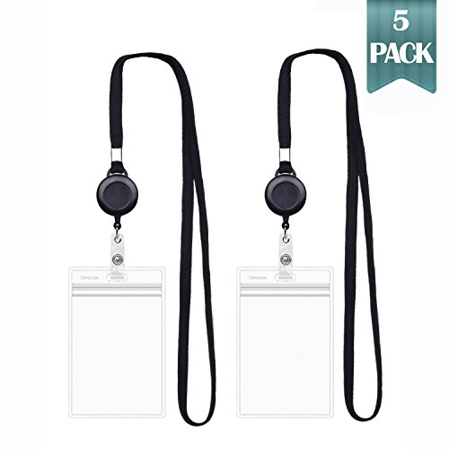CarryLuxe Lanyard with ID Holder Sets (Black,5 Pack)- Flat Polyester ID Lanyard with Retractable Badge Reel & Vinyl Name Badge Holder