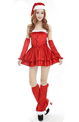 Cosomall Women's Girls Santa Claus Cosplay Suit Christmas...