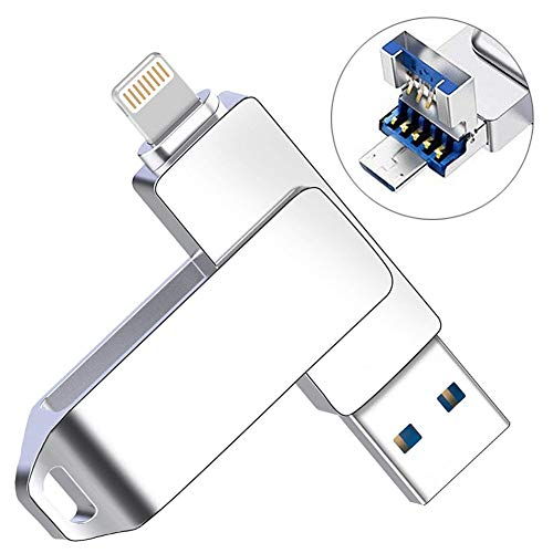Pen External (Flash Drive for iPhone, YOUNI 128GB Android USB 3.0 Flash Drive, 3 in 1 Memory Stick External Storage Pen Compatible for iPad,iPod,Mac,iOS/Android Phone and PC (Silver))