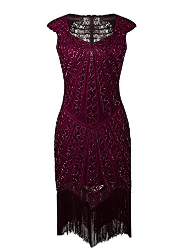 Vijiv Vintage 1920s Inspired Embellished Beaded Lace Cocktail Flapper Dress (The Roaring 20s Fashion)