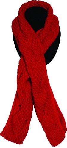 n's Fashion Medium Thread Weave Knit Scarf (Red) ()