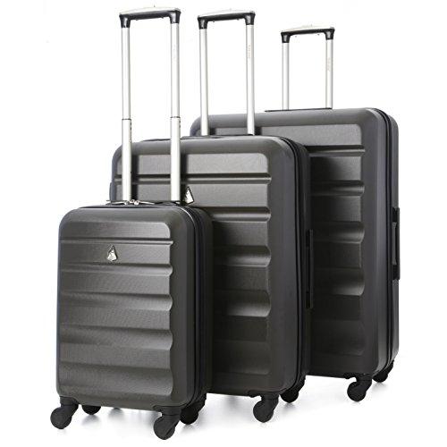 Aerolite 4-Rollen Hartschale Leichtgewicht Reisekoffer Trolley 3er Koffer-Set Gepäck-Set (55cm + 69cm + 79cm, Kohlengrau)