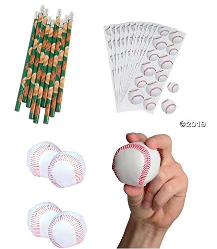 (Baseball Theme Party Favor Set/12 Pencils/12 Mini Foam Baseballs/12 Baseball Sticker Sheets)
