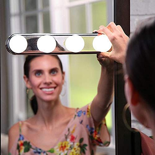 Haudang 4 Bombilla de Led Luz de Espejo de Maquillaje Luz de vanidad de tocador de instalaci/ón de Ventosa L/ámpara de Pared de ba?o de Bater/ía cargada