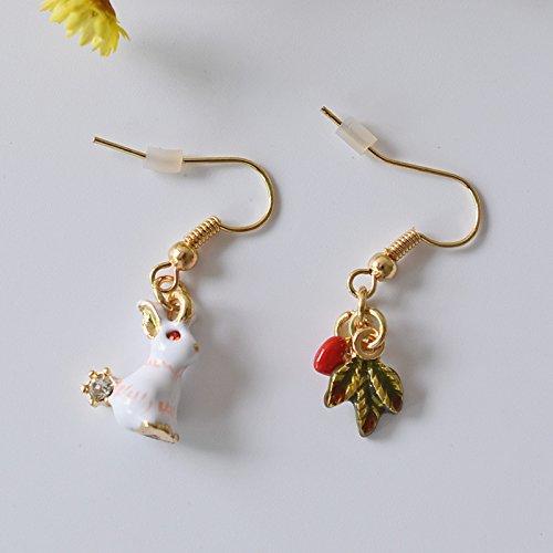 Fashion jewelry temperament and generous glazed rabbit Alice enamel diamond ear hook earrings asymmetric leaves Hearts
