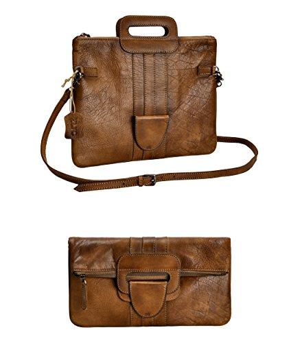 ZLYC Womens Genuine Leather Foldover Clutch Purse Cross Body Bag Handbag by ZLYC