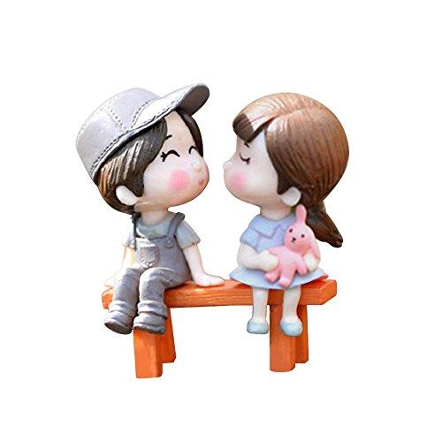 - Infgreate Beautiful Decorations 3Pcs/Set Lovers Chair Miniature Landscape DIY Ornament Garden Dollhouse Decor - Grey