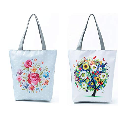 2 con diseño casual flores 35 35cm de Type Bolso mujer hombro superior asa Type 3 estilo para de Evmho qvaFHzw