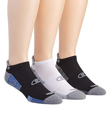 Champion Men's Heel Shield Socks 3-Pack, Black with Blue Assortment, 6-12