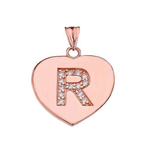 Elegant 14k Rose Gold Diamond Initial
