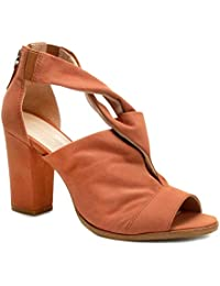 Sandália Couro Shoestock Salto Grosso Entrelace Feminina