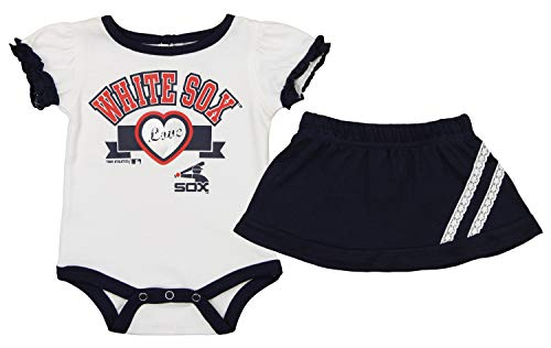 Chicago White Onesie Sox (Outerstuff MLB Baby Infants Chicago White Sox Cheer Pride Onesie with Skirt, 0-3 Months)