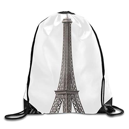 Cool Drawstring Backpack Eiffel Tower Paper Print Drawstring Backpack Rucksack Shoulder Bags Gym Bag