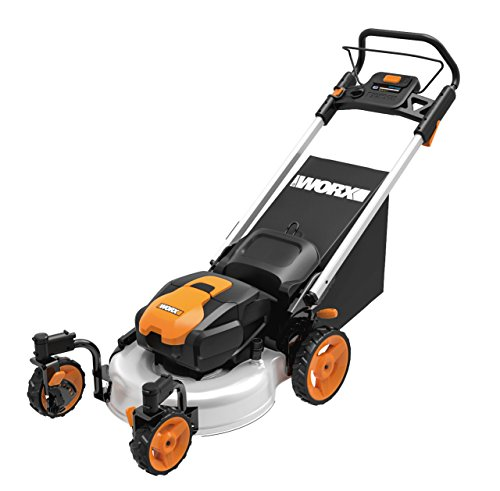 WORX WG771 56V Lithium-Ion 3-in-1 Cordless Mower with Locking Caster Wheels, 19-Inch, (2) Batteries and Charger Included (Lawn Mower With Caster Wheels)
