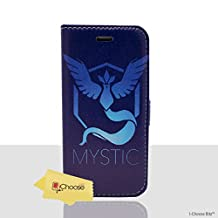 """iPhone 6/6s (4.7"""") Pokemon PU Leather Flip Wallet Phone Case / Cover with Magnetic Strap for Apple iPhone 6S 6 (4.7"""") / Screen Protector & Cloth / iCHOOSE / Team Mystic"""