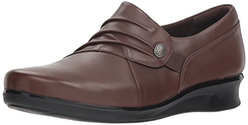 (Clarks Women's Hope Roxanne Loafer, Brown Leather, 9 M US)