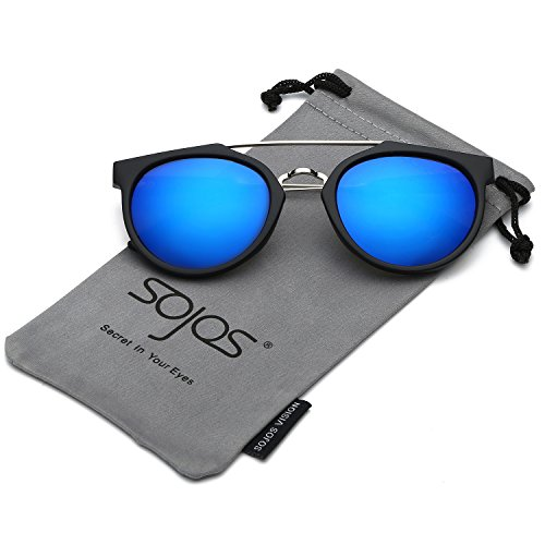 SojoS Modern Double Metal Bridge Crossbar Round Unisex Sunglasses SJ2032 With Matte Black Frame/Blue Mirrored - Blue Black And Sunglasses