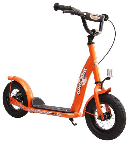 BIKESTAR Original Safety Pro Sport Push Kick Scooter Kids with brakes, mudguard and air tires for age 5 year old children | Classic Edition with Alloy Wheels 10 Inch | Sunny Orange by BIKESTAR