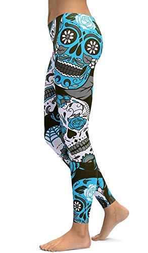Women's Halloween Sugar Skull Printed Leggings Ankle Length Tights Capris Pants (Large, -