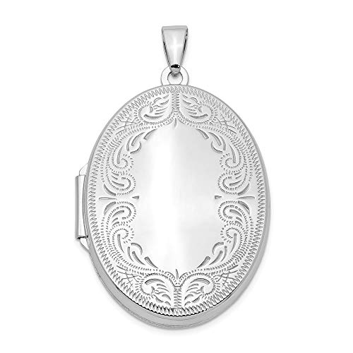 (925 Sterling Silver 31mm Oval Scroll Photo Pendant Charm Locket Chain Necklace That Holds Pictures Fine Jewelry Gifts For Women For Her)