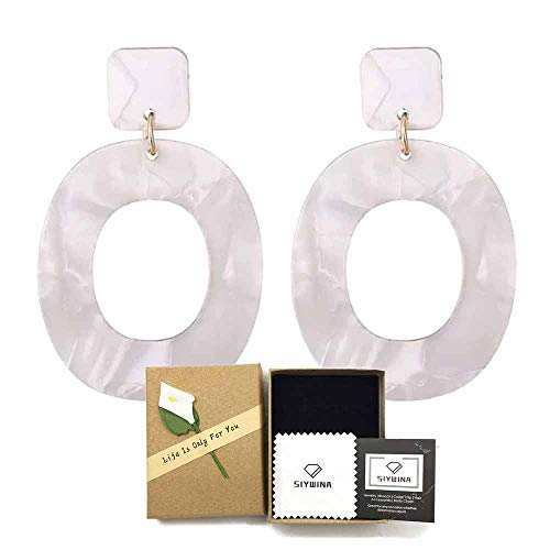Acrylic Earrings for Women Fashion Cellulose Acetate Earrings Oval Pendient Fashion Jewelry(White)