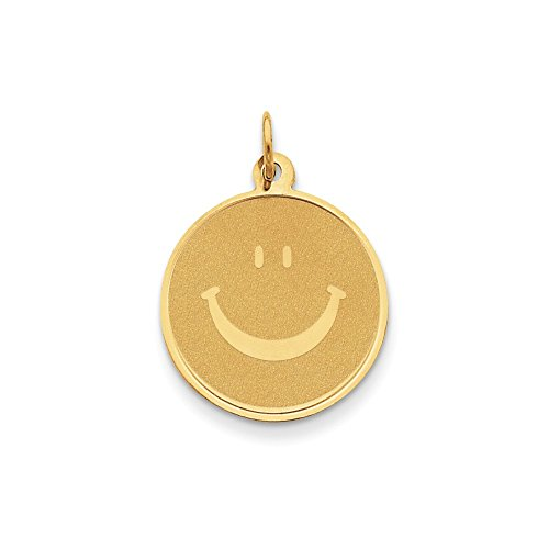 Beautiful Yellow gold 14K 14k Solid Polished Smiley Face Pendant