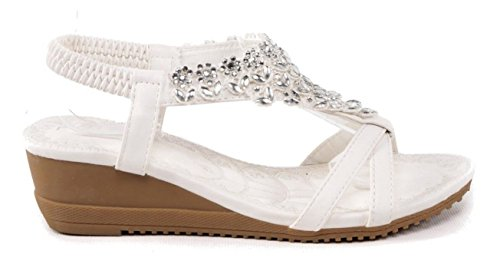 SHU CRAZY Womens Ladies Diamante Open Toe Summer Fashion Gladiator Holiday Beach Sandals Shoes - M76 White yn81Cwb