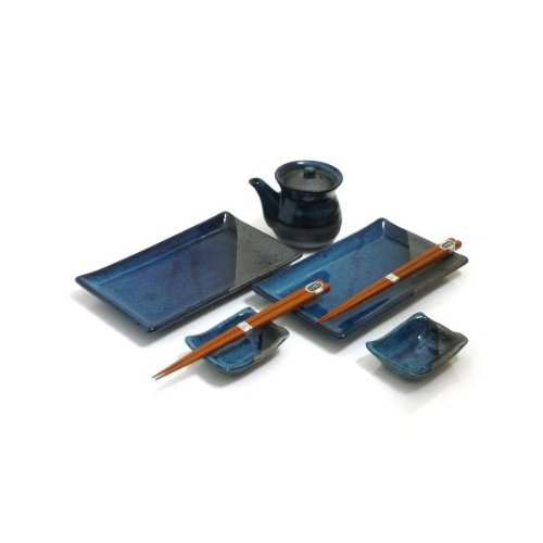 - MySushiSet - 7 PC Rustic Blue Sushi Set for Two with Matching Soy Sauce Dispenser