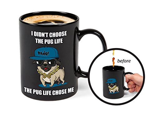 Life Pug (BigMouth Inc Color Changing Pug Mystery Mug, Holds 16oz, Ceramic Cup for Coffee and Tea with Handle, Funny Novelty Cup)