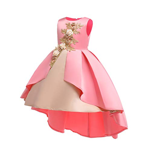 AIMJCHLD Teenages Girls Ball Gowns Flower Girl Dress Kids Children Country Party Formal Special Performance Dress Baptism Graduation Bowknot Party Dresses Size 8 9 Years (Pink 150) -