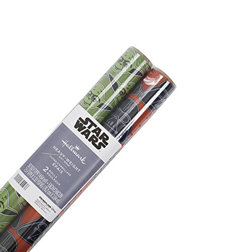 Holiday Wrapping Paper - Hallmark Star Wars Holiday Wrapping Paper with Cut Lines, Darth Vader and Yoda (Pack of 2, 100 sq. ft. ttl.)