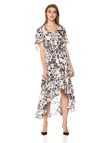 Silk Flutter Sleeve Dress - Parker Women's Demi Flutter Sleeve High Low Silk Dress, Pearl Paradise, M