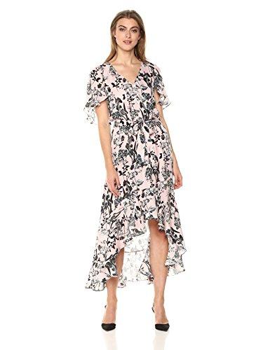 Parker Women's Demi Flutter Sleeve High Low Silk Dress, Pearl Paradise, S