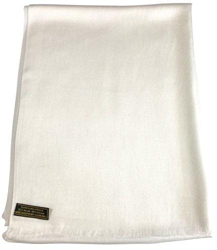 Scarf Shawl Silk New (Off White Solid Color Design Nepalese Fringe Shawl Scarf Pashmina CJ Apparel NEW)